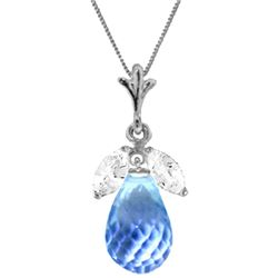 Genuine 7.2 ctw Blue Topaz & White Topaz Necklace Jewelry 14KT White Gold - REF-30R5P