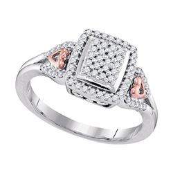 0.33 CTW Diamond Square Cluster Heart-Ring 10KT Two-tone Gold - REF-30W2K