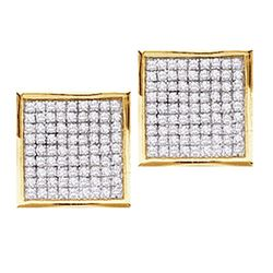 0.45 CTW Pave-set Diamond Square Cluster Earrings 14KT Yellow Gold - REF-30K2W