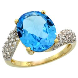 Natural 6.45 ctw swiss-blue-topaz & Diamond Engagement Ring 14K Yellow Gold - REF-54Z3Y