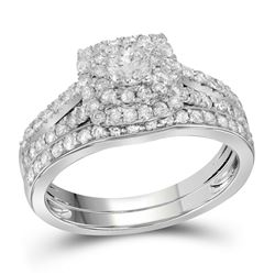1 CTW Diamond Double Halo Bridal Engagement Ring 14KT White Gold - REF-104N9F