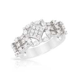 1.29 CTW Marquise & Diamond Ring 14K White Gold - REF-118M4F