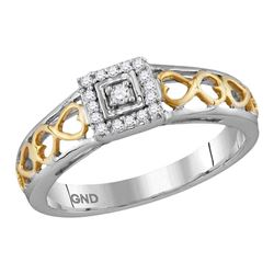 0.10 CTW Diamond Solitaire Bridal Engagement Ring 10KT Two-tone Gold - REF-14F9N