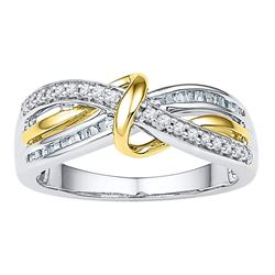 0.20 CTW Diamond Yellow Strand Ring 10KT Two-tone Gold - REF-24N2F