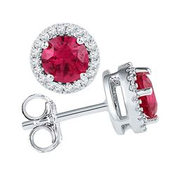 1.36 CTW Created Ruby Solitaire Diamond Screwback Earrings 10KT White Gold - REF-18K2W