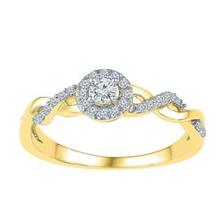 0.21 CTW Diamond Solitaire Bridal Engagement Ring 10KT Yellow Gold - REF-19M4H