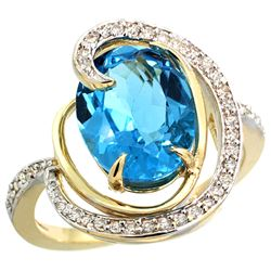 Natural 6.53 ctw swiss-blue-topaz & Diamond Engagement Ring 14K Yellow Gold - REF-72Z8Y