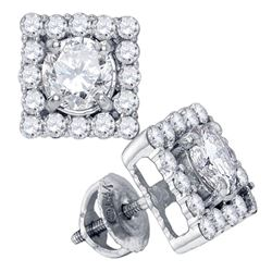 0.88 CTW Diamond Square Solitaire Stud Earrings 14KT White Gold - REF-134M9H