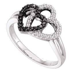 0.25 CTW Black Color Diamond Double Heart Ring 14KT White Gold - REF-34N4F