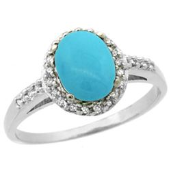 Natural 1.3 ctw Turquoise & Diamond Engagement Ring 10K White Gold - REF-27H9W