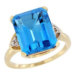 Natural 5.44 ctw swiss-blue-topaz & Diamond Engagement Ring 10K Yellow Gold - REF-32A2V