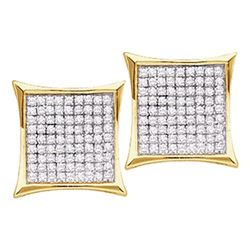 0.10 CTW Diamond Square Kite Cluster Stud Earrings 14KT Yellow Gold - REF-10H5M