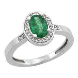 Natural 1.08 ctw Emerald & Diamond Engagement Ring 10K White Gold - REF-31N7G