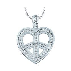 0.15 CTW Diamond Heart Peace Sign Pendant 10KT White Gold - REF-20X9Y