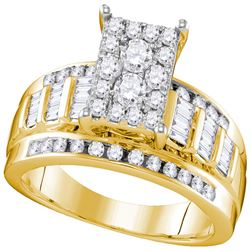 0.92 CTW Diamond Rectangle Cluster Bridal Engagement Ring 10KT Yellow Gold - REF-67Y4X