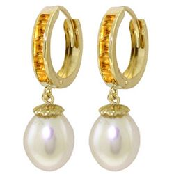 Genuine 9.3 ctw Citrine & Pearl Earrings Jewelry 14KT Yellow Gold - REF-44V4W