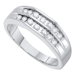 0.51 CTW Mens Diamond Double Row Flat Surface Wedding Ring 10KT White Gold - REF-49N5F