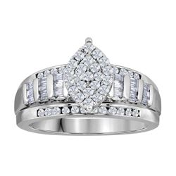 1.01 CTW Diamond Oval Cluster Bridal Engagement Ring 10KT White Gold - REF-67Y4X