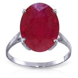 Genuine 7.5 ctw Ruby Ring Jewelry 14KT White Gold - REF-82H2X