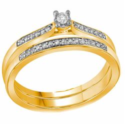 0.13 CTW Diamond Bridal Wedding Engagement Ring 10KT Yellow Gold - REF-22F4N