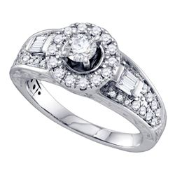 1 CTW Diamond Solitaire Bridal Engagement Ring 14KT White Gold - REF-191H9M