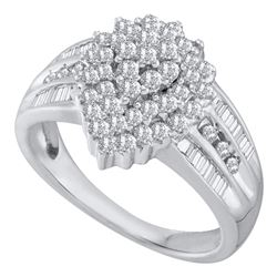 1.02 CTW Diamond Oval Cluster Ring 10KT White Gold - REF-52H4M