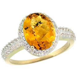 Natural 2.56 ctw Whisky-quartz & Diamond Engagement Ring 14K Yellow Gold - REF-41M2H