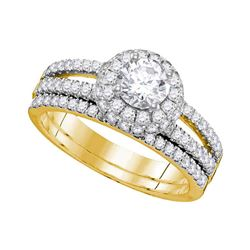 1.5 CTW Diamond Halo Bridal Engagement Ring 14KT Yellow Gold - REF-344N9F
