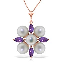 Genuine 6.3 ctw Amethyst & Pearl Necklace Jewelry 14KT Rose Gold - REF-59A2K