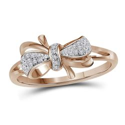 0.10 CTW Diamond Ribbon Bow Knot Ring 10KT Rose Gold - REF-18H2M
