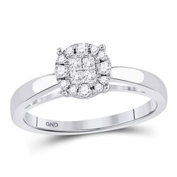 0.25 CTW Princess Diamond Soleil Bridal Engagement Ring 14KT White Gold - REF-41W2K