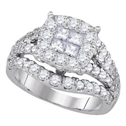 2.5 CTW Princess Diamond Soleil Cluster Bridal Engagement Ring 14KT White Gold - REF-240K2W