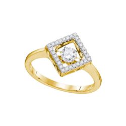 0.19 CTW Diamond Solitaire Diagonal Square Ring 14KT Yellow Gold - REF-38Y9X