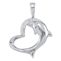 0.03 CTW Diamond Dolphin Heart Pendant 10KT White Gold - REF-12X2Y