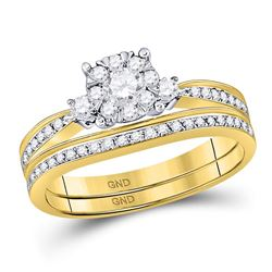 0.63 CTW Diamond Bridal Wedding Engagement Ring 14KT Yellow Gold - REF-82N4F