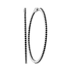 3.73 CTW Natural Black Sapphire Slender Hoop Earrings 14KT White Gold - REF-119N9F