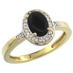 Natural 0.83 ctw Onyx & Diamond Engagement Ring 10K Yellow Gold - REF-24Z5Y