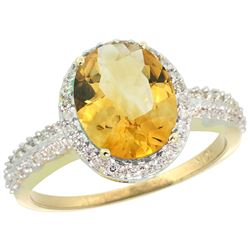 Natural 2.56 ctw Citrine & Diamond Engagement Ring 14K Yellow Gold - REF-42Y2X