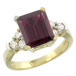 Natural 2.86 ctw rhodolite & Diamond Engagement Ring 14K Yellow Gold - REF-65F2N