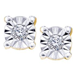 0.05 CTW Illusion-set Diamond Solitaire Screwback Earrings 14KT Yellow Gold - REF-8M9H