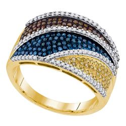 0.75 CTW Multicolor Diamond Fashion Ring 10KT Yellow Gold - REF-75M2H