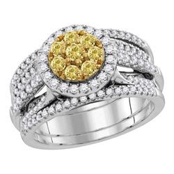 1.05 CTW Yellow Diamond Bridal Engagement Ring 14KT White Gold - REF-142X4Y