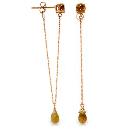 Genuine 3.15 ctw Citrine Earrings Jewelry 14KT Rose Gold - REF-22T3A