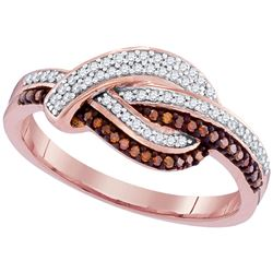 0.25 CTW Red Color Diamond Knot Fashion Ring 10KT Rose Gold - REF-28X4Y