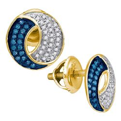 0.20 CTW Blue Color Diamond Circle Cluster Earrings 10KT Yellow Gold - REF-14M9H