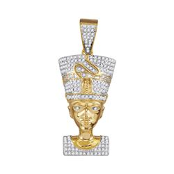 0.60 CTW Mens Diamond Nefertiti Pharaoh Charm Pendant 10KT Yellow Gold - REF-52W4K