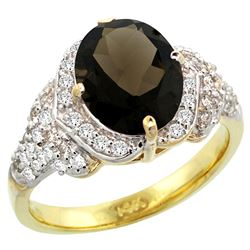 Natural 2.92 ctw smoky-topaz & Diamond Engagement Ring 14K Yellow Gold - REF-102Z7Y