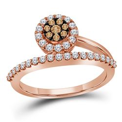 0.50 CTW Cognac-brown Color Diamond Cluster Ring 10KT Rose Gold - REF-44N9F