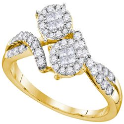 0.50 CTW Princess Diamond Soleil Cluster Bypass Bridal Ring 14KT Yellow Gold - REF-59W9K