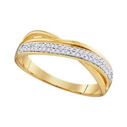 0.12 CTW Diamond Crossover Ring 10KT Yellow Gold - REF-18N2F